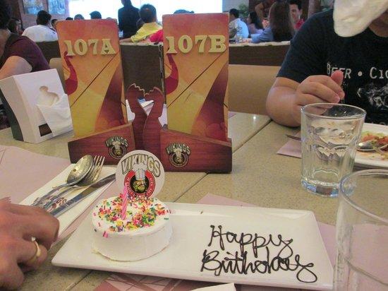 free birthday cake Picture of Vikings Luxury Buffet Marikina