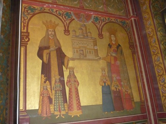 Curtea de Arges Monastery, painting of voivode Neagoe Basarab and his family