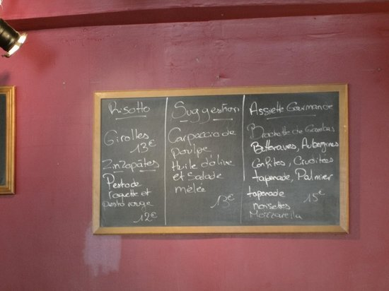 Le Zinzolin : Menu