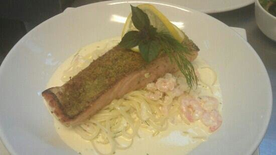 Masons Arms: herb crusted salmon with crab and prawn linguine