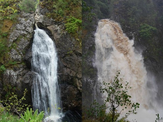 The Falls of Foyers: Falls of Foyers, before and after heavy rain.