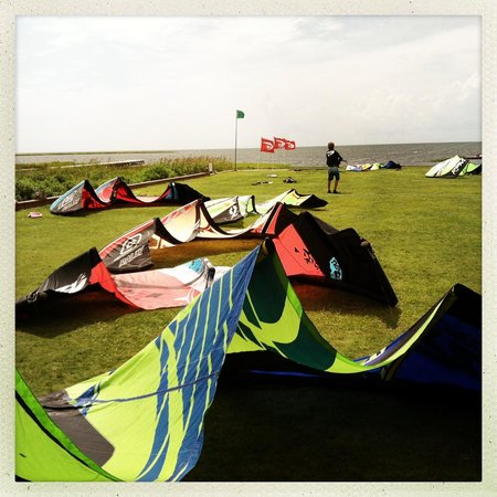 Watermen's Bar & Grill: Kites ready to fly