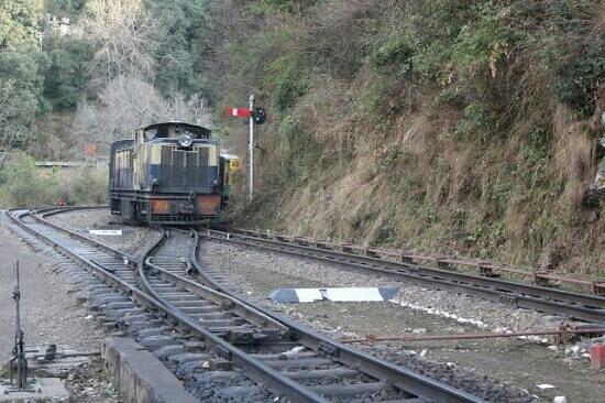 View of train station  next to us at taradevi  shimla