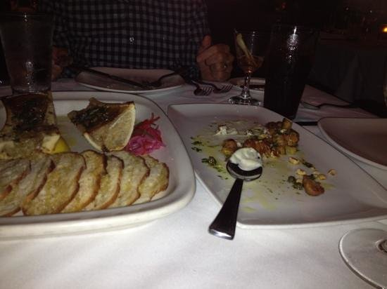 Michael Symon's Roast: roast marrow on the left and veal sweetbreads on the right
