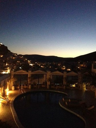 Lofos Village Hotel : Sunrise over Chora from Lofos Village Balcony