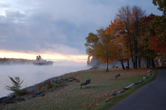 Sault Ste. Marie, MI: The St. Marys River in the misty morning at Rotary Park