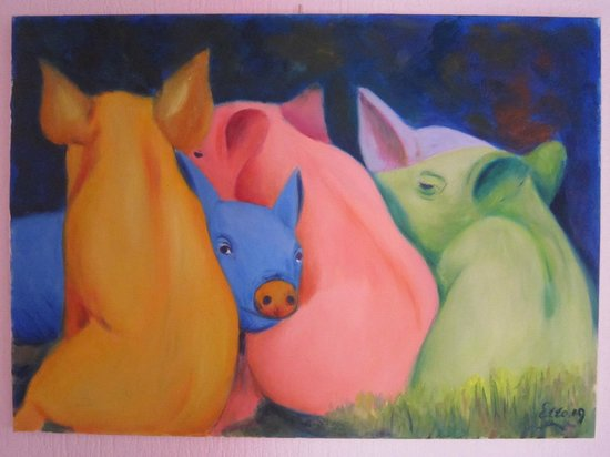 Le Charaban: Colorful pigs
