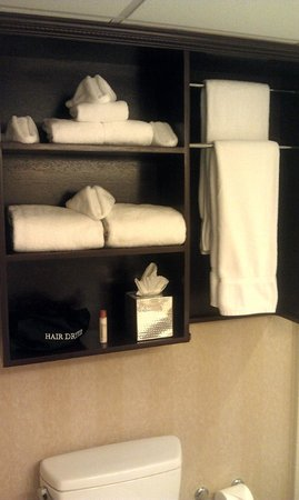 The Madison Hotel : Room 357 Custom Made Wood Towel Rack and Shelf