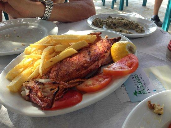 Taverna Paradiso : Calamari with eggplant salad in background