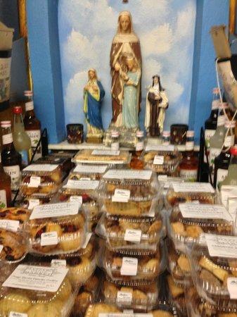 Mazzaro's Italian Market: Gotta love the Virgin Mother looking over the biscotti!