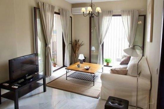 Apartamentos Puerta de San Esteban : Salón comedor con sofá cama