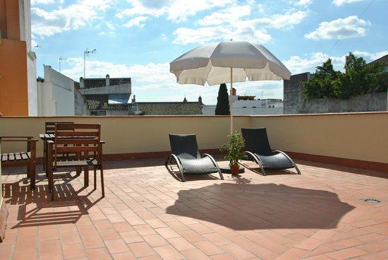 Apartamentos Puerta de San Esteban: Solarium con  la giralda al fondo