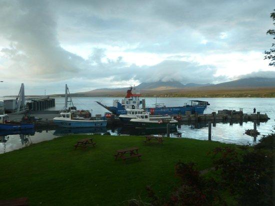 Port Askaig Hotel: Cloud on Beinn a' Chaolais and the pier.