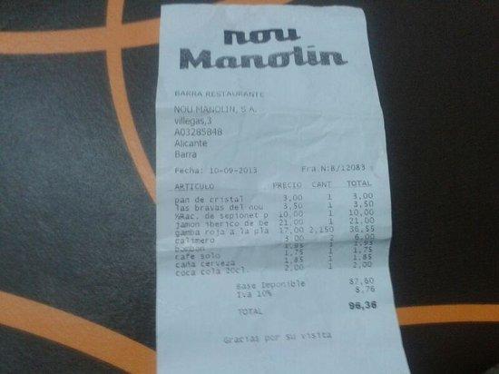 Nou Manolin: factura que merece la tapita