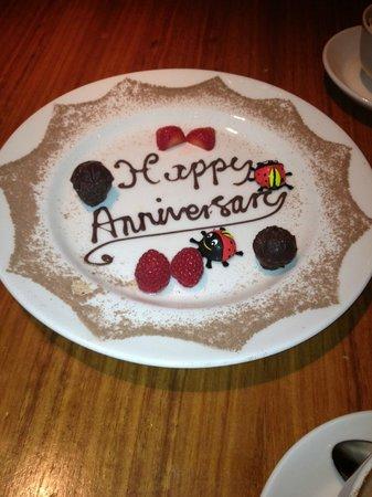 Clocktower Bar & Restaurant : Chocolate anniversary plate