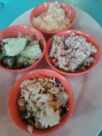Ophelia's Place- Cafe at 407 : Cafe 407 salads: barley; sweet potato; cucumber; orzo