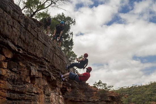 Kalbarri Abseil: Lines 1 & 2 in action