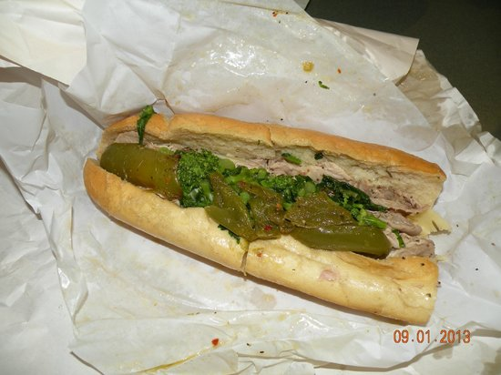 Tommy DiNic's: Roast pork with broccoli rabe, sharp provolone and sweet peppers...fantastic!