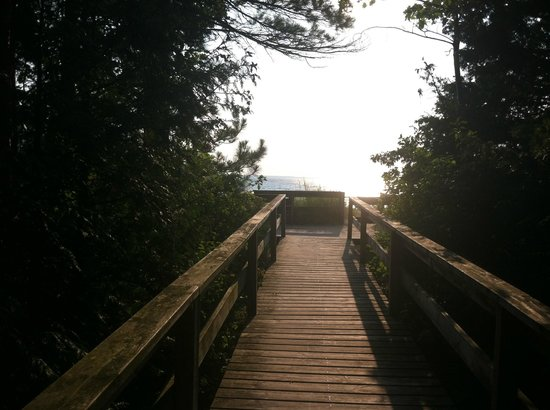 Petoskey State Park : Boardwalk to beach from campsite