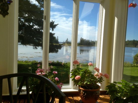 Ann's Point Inn: view of grounds and coast from breakfast room