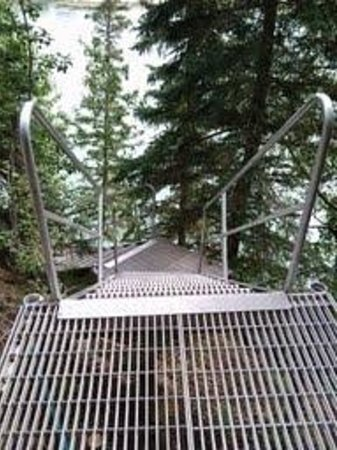 A River's Edge B & B: Sturdy aluminum walkway to dock and river