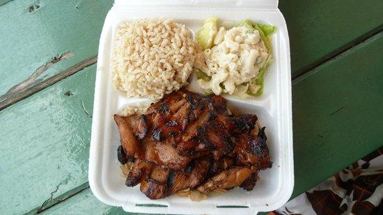 Mark's Place : Teriyaki chicken w/ rice, mac salad & noodles