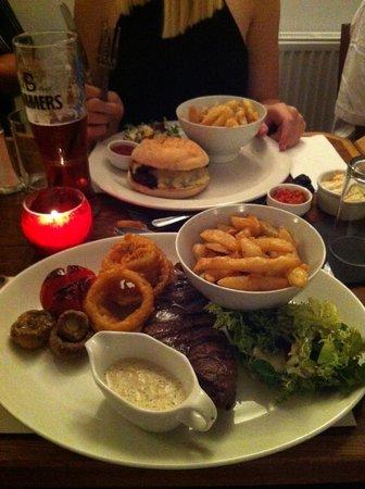 Bar 1 And Restaurant: Sirloin steak - near, Beefburger far