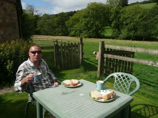 Riscombe Farm Holiday Cottages: shared garden ( small seating area) next to field