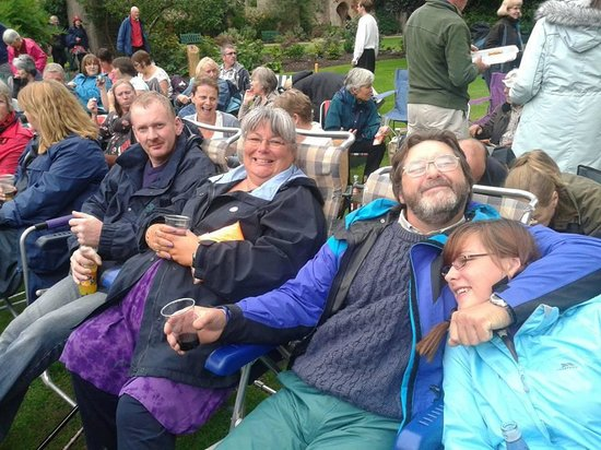 The Bishop's Palace and Gardens: Our family enjoying the refreshments