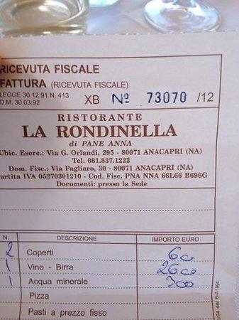 La Rondinella: receipt