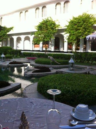 Taj Lake Palace Udaipur: Le jardin où nous prenions le petit déjeuner