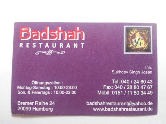 Badshah Imbiss Sweet Center: Badshah Business Card