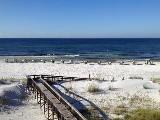 Commodores Retreat : Chairs set up and most never rented. Two competing chair companies take up the beach.  Paying gu