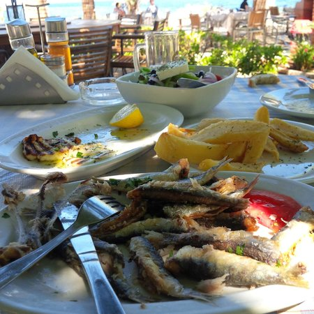 Cavo Barbaro : Grilled sardines and chips