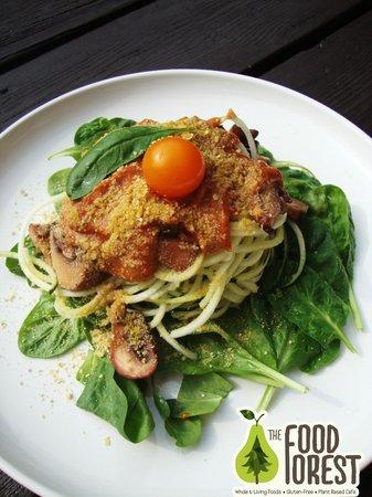 The Food Forest : Raw Marinara with Marinated Mushroom and Cashew Parmesan