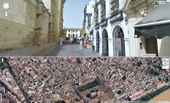 Hotel Los Patios: Campanario de La Mezquita + Entrada Hotel + Burger King