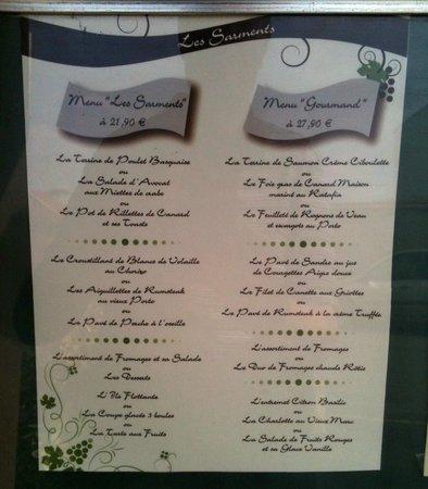 Les Sarments : menus