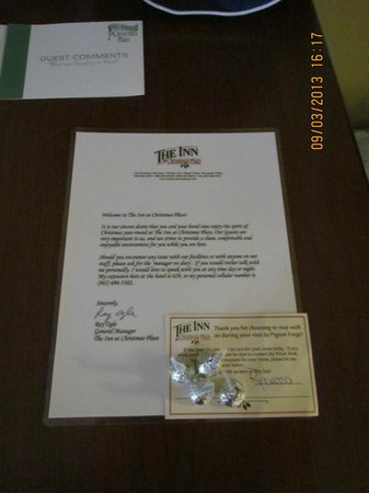 The Inn at Christmas Place: Generic Letter in Room from General Manager, Room #418