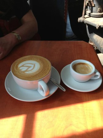 The Factory Cafe: A double espresso and a delicious cappuccino