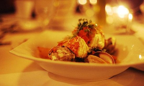 Davio's: Pan Roasted Halibut, Tuscan Potatoes, Baby Clams, Saffron, Tomato Brodo