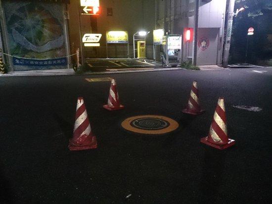 Forest Hongo: 東大正門前からアクセスの場合、この謎の4本コーンが目印でした(このコーンの真横がホテルです)