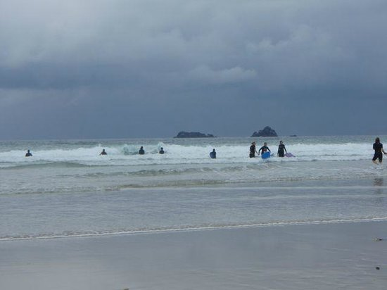 Constantine Bay Beach: body surfing on a rainy day at Constantine Bay