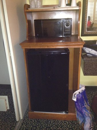Anaheim Del Sol Inn: Microwave and big refrigerator.