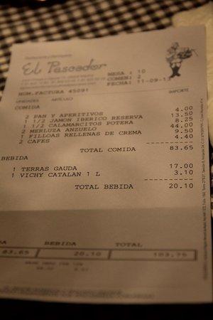 El Pescador: Счет за ужин с вином
