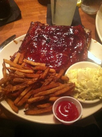 The Pit Authentic Barbecue: Can't have ribs without fries, Carolina style ribs, yum