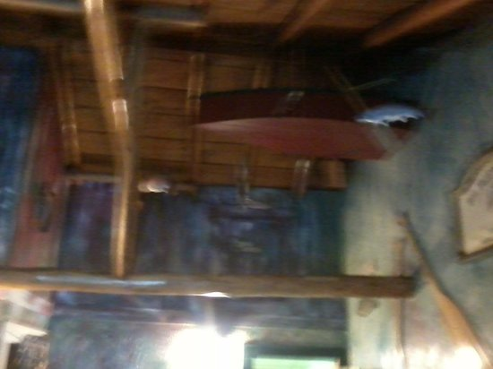 "Mountain Lakes Lodge: Bedroom ceiling!  (Yes, that's a minature boat)  You get the idea-""Bait-n-Tackle"" is the unit's"
