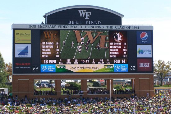 BB&T Field: Scoreboard and Family hill