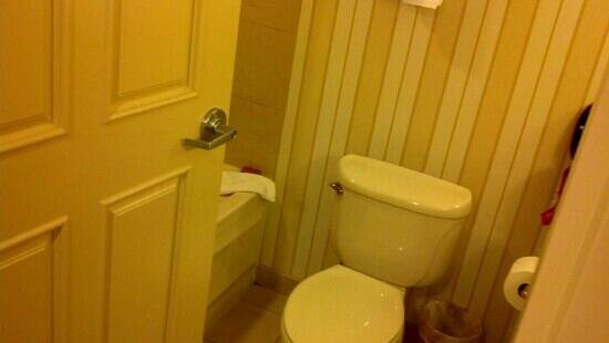 Hollywood Casino St. Louis Hotel : tiny bathroom! when i sat on the toilet the door hit my knees. I'm only 5'4""