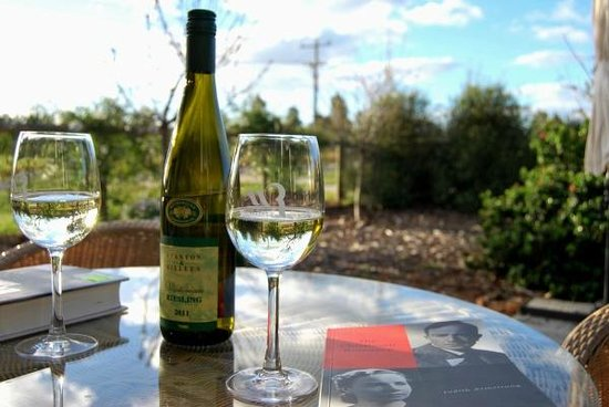 Must Love Dogs B&B & self contained cottage: Enjoying a glass of vino in the garden