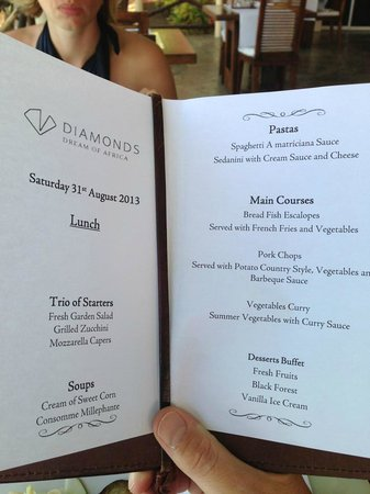 Diamonds Dream of Africa: A typical lunch menu